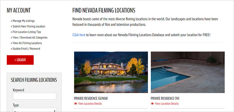 Nevada Filming Location Database